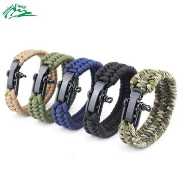 Jeebel Self-rescue Paracord 550 4mm Parachute Cord Bracelets Survival Camping Travel Kit Climbing Outdoor Ropes