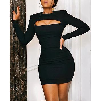 Autumn And Winter New Fashion Women Solid Color Hollow Long Sleeve Dress Black