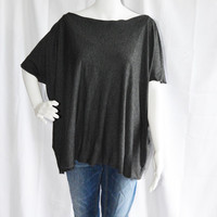 Poncho Tee/ Oversized Poncho Style Tunic/ Lightweight Boho Jersey Top/ Off the Shoulder top/ Loose Shirt/ Nursing Top/ Choose from 3 Colors