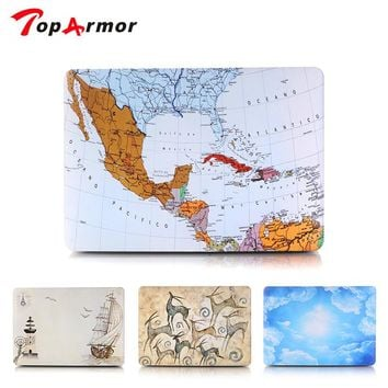 TopArmor World Map Laptop Protective Hard Cases Cover For Macbook Air Pro 13 Case Pro 13 15 Retina Laptop Skin Protector Shell