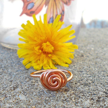 copper ring, Simple ring, minimalist ring, copper wire ring, bohemian ring, knot ring, hippie rings, swirl wire ring, gypsy jewelry, boho