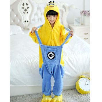 Minions Blanket Overalls Jumpsuit Kids Pijama Children Animal Cosplay Costume Kigurumi Onesuit Blanket Sleepers Pajamas Hooded