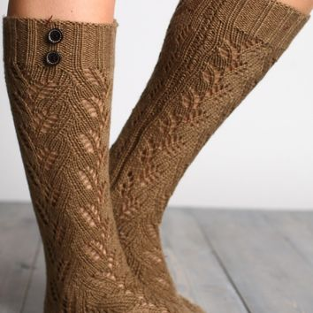 Pointelle Knit Sock with Button Accents