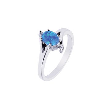 Silver with Rhodium Finish 1.9mm Shiny Created Opal Oval Top Ring with White Stone