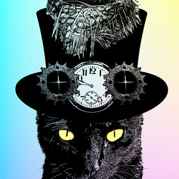 Mad Hatter Cat art print, cat digital print animals, alice in wonderland, steampunk hat art print, birds nest