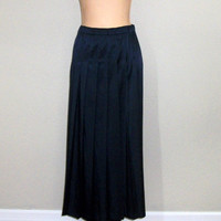 Navy Blue Skirt Size Large Pleated Skirt Satin Navy Skirt Fall Midi Elastic Waist Skirt Silky FREE SHIPPING Size 12 Size 14 Womens Clothing