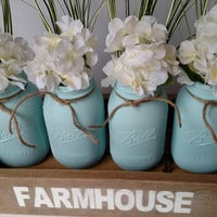 Blue Farmhouse Centerpiece -  Farmhouse Decor - Farmhouse Table - Rustic Table Decor - Wedding Gift - New Home Gift - Flower Arrangement