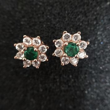 Natural emerald stud earring Natural and real emerald 925 sterling silver 2pcs gems For men or women jewelry
