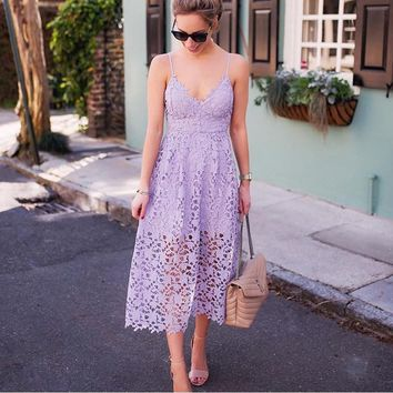 Deep V Neck Lace Crochet Backless Women Dresses Hollow Out Spaghetti Strap Sleeveless Female Sexy Purple Red Summer Party Dress