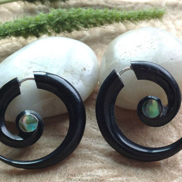 "Fake Gauge Earrings, ""Rainbow Spirals"" Handcrafted, Horn, Paua Shell, Natural, Tribal"