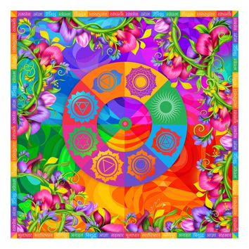 Floral Chakra Symbols and Colors Silk Square Scarf