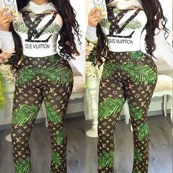LV 2019 new sexy women's casual long-sleeved trousers two-piece