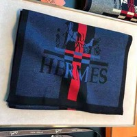 Hermes hot selling men and women shawl scarf fashion black and red contrast scarf