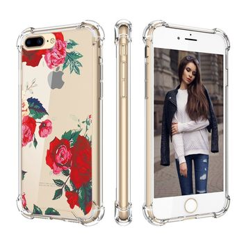 iPhone 8 Plus Case,iPhone 7 Plus Case,Cutebe Shockproof Hard PC+ TPU Bumper Case Scratch-Resistant Cover for Apple iPhone 7 Plus(2016)/iPhone 8 Plus(2017) Rose Flower