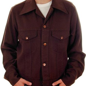 Vintage Mens Wrangler Waist Jacket 1970s Brown Textured Cotton M