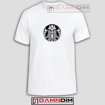 Starbucks Skeleton Funny Graphic Tees, Funny Quotes Tee Shirts