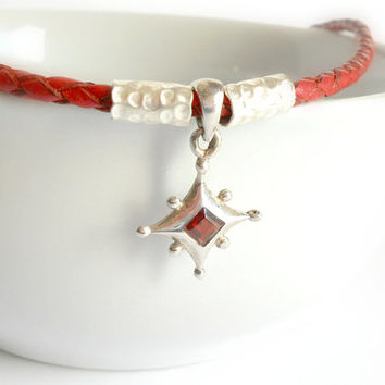 Red Garnet Charm Necklace on Fine Quality Red Bolo Leather with Karen Hill Tribe Silver, Urban Chic, Rockabilly Jewelry, Red, Silver, gifts