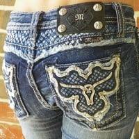 Miss Me Girls Boot Cut Blue Jeans Size 10 Longhorn with Bling, Leather & Studs
