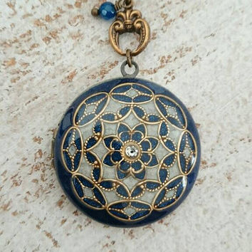 Vintage Ornate Locket -filigree locket,Wedding Necklace, Round Blue & pearl white Color Embellished Pendant on Antique brass Chain