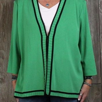 Nice New Misook 3x size Cardigan Jacket Bright Green Womens Career Casual Blazer Plus