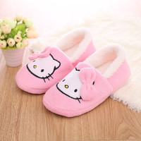 Hello Kitty Slippers For Women Plush Fur Thickened  Woman slippers Shoes