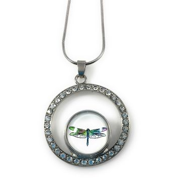 Snap Metal Pendant Rhinestones and Stainless Steel Necklace 46 cm