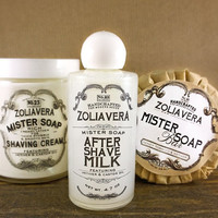 Men's Gift Set: Shaving Cream, After Shave Milk, Tobacco Honey Men's Soap, Gift wrapped just for dad! Groomsmen gift set!