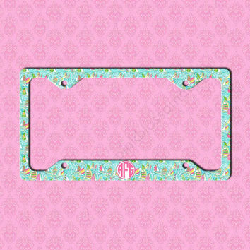 custom license plate frame monogram lilly pulitzer inspired car tag frame personalized car tag - Monogram License Plate Frame