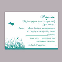 DIY Wedding RSVP Template Editable Text Word File Download Rsvp Template Printable RSVP Cards Teal Blue Rsvp Card Turquoise Rsvp Card