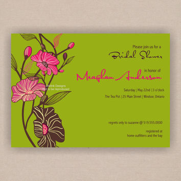 Bridal Shower Invitation Orchid Blossoms - Printable CUSTOMIZE the COLORS and WORDING