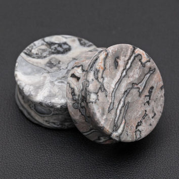 A Pair of Wavy Jasper Stone Double Flared Ear Gauge Plug
