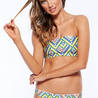 Strapless Geometric Pattern Prints Bikini Swimwear