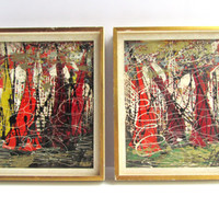 Mid Century Modern Spax Abstract Expressionist Oil Painting Framed Wall Art