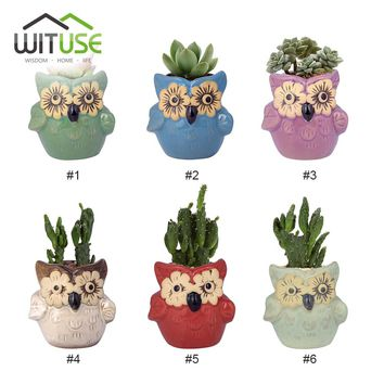WITUSE 6pcs Ice Crack Glazed Decorative Mini Small Flower Pot Desktop Ceramic Pot de fleur Home Decor terracotta pots for plants