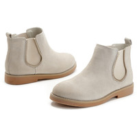 Cream Zip Gear Elastic Side Ankle Boots - Choies.com