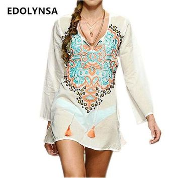 DKLW8 New Arrivals Beach Cover up Rayon Embroidery Vintage Swimwear Tunics Kaftan Beach Dress Beachwear Women Robe de Plage #Q233