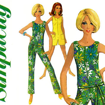 1960s Jumpsuit Pattern Simplicity 7133 Skinny Leg Jiffy Jumpsuit, Romper Sleeveless Zip Front Shoulder Button Womens Vintage Sewing Patterns
