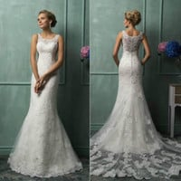 Sheer Sweetheart Long Lace Wedding Dress with Train Custom Size 2 4 6 8 10 12 14