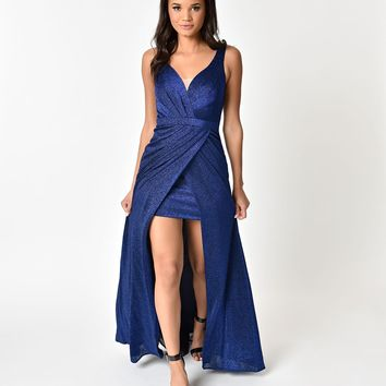 Royal Blue Metallic Sexy Long Dress