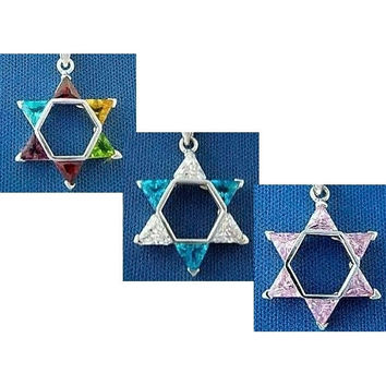 Star Of David Necklace Pendants Zirconia Stones