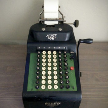 R.C. Allen 66 calculator, 1940s adding machine Allen Calculators, Inc, Industrial Office, professional calculator, mid century decor