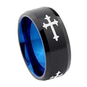 8mm Christian Cross Religious Bevel Tungsten Carbide Blue Mens Promise Ring