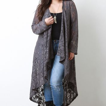 Plus Size Cascade Lace Cardigan