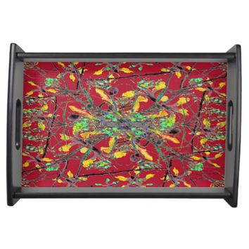 Oriental Floral Print Serving Trays