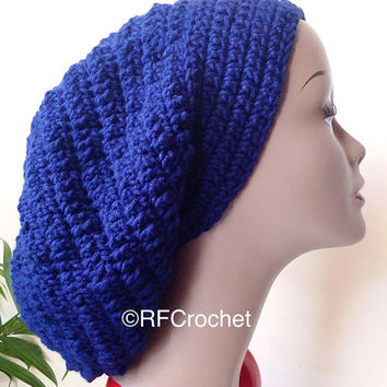 XL Navy Blue Slouchy Beanie | Dreadlocks | Bad Hair Day | Adult Beanie | Men | Women | Curly Hair | Braids | Locs | Rasta Tam | Oversized