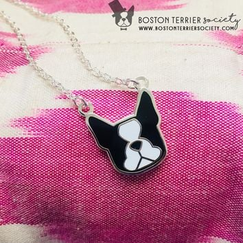 Boston Terrier necklaces | original dog charm - fashion necklace by Smooshface United - you choose color | modern Boston Terrier jewelry