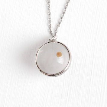 Mustard Seed Pendant - Vintage Clear Lucite Symbolic Round Charm 40s Necklace - Retro 1950s Spherical Orb Symbolic Faith & Change Jewelry