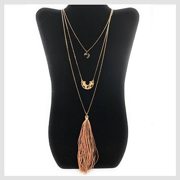 Fashion Statement Cheetah Animal Skin 3 Layer Tassel Necklace