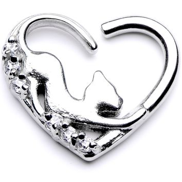 "16 Gauge 3/8"" Clear CZ Gem Cats Meow Right Heart Closure Ring"