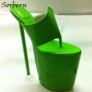 Sorbern Custom Super High Heels Women Sandals Ladies Slippers 25Cm-60Cm Extrem High Platform Flip Flop Shoes Ladies 2018 New Macchar Cosplay Catalogue